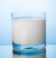 milk in glass on blue background