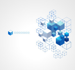 Abstract blue cubes background.
