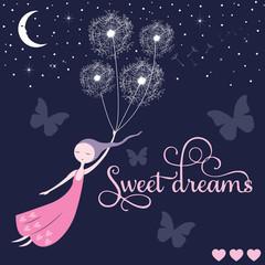 sweet dreams girl vector illustration