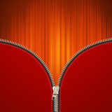Red background with metallic zipper