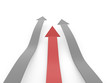Red business concept arrows on white
