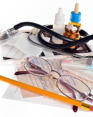 Still life of medical items used by doctors to treat