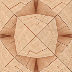 Abstract Textured Wooden Geometrical Tangram