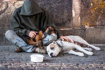 beggar with two dogs near Charles bridge, Prague