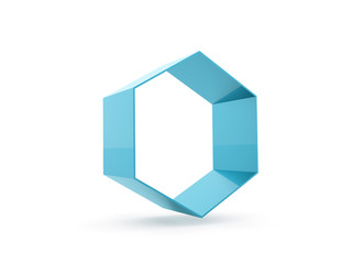 Blue hexagon cell rendered isolated