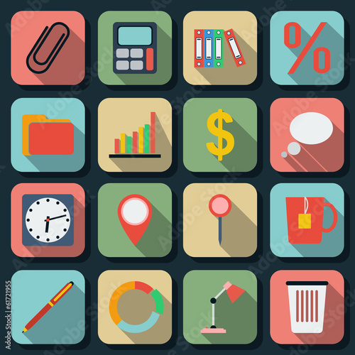 Business flat vector icons