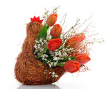 basket with red tulips