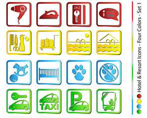 Hotel & Resort Icons - Four Colors (Vector)
