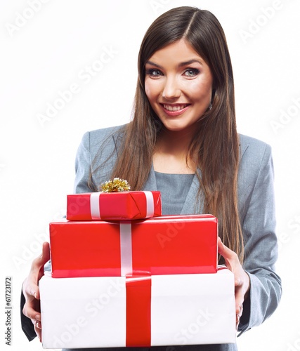 Business woman hold gift box. White background isolated