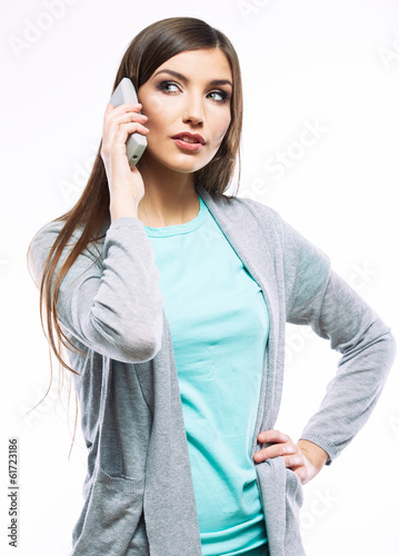 Woman phone talking portrait. White background isolated.