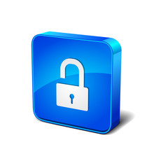 Lock Sign Vector 3d Blue Rounded Corner Button Icon