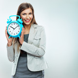 Business woman hold watch. Time concept. Smiling girl portrait,