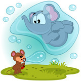 elephant mouse and bubble blower - vector illustration