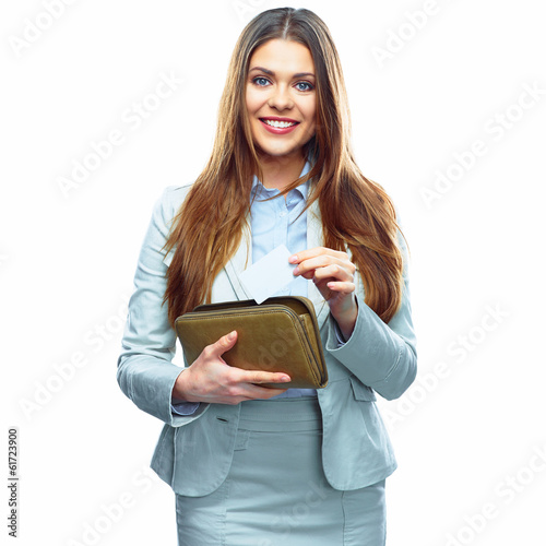 Smiling Business woman hold payment credit card and purse. Whit