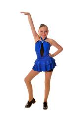 Smiling Teen Tap Dancer in Blue Dress