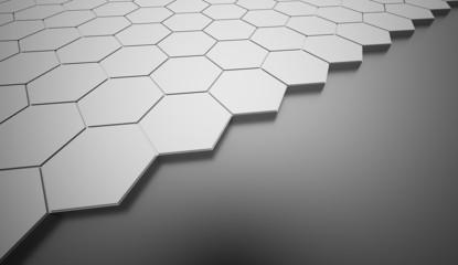 Silver hexagonal background rendered