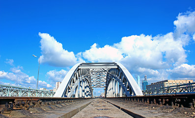 Railway bridge with steel spans in Moscow