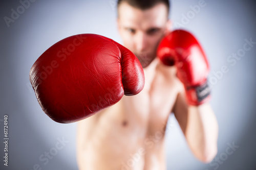 Boxing. Fighters glove close-up