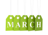 March tag on green hanging labels. March promotions.