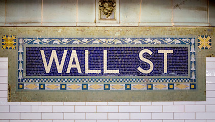 Wall street subway sign tile pattern