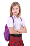 Beautiful little girl with backpack isolated on white