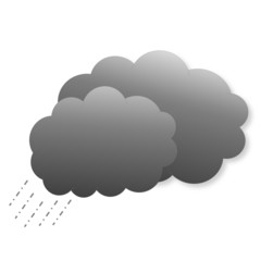 Dark clouds with rain as weather icon