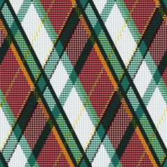 Rhombic tartan green, white and brown fabric seamless texture