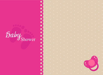 baby shower invitation card with fuchsia pacifier