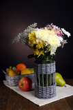 Beautiful chrysanthemum flowers in vase