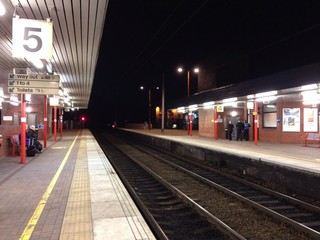 Train station platform at night