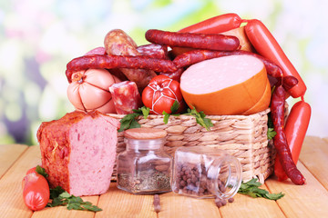 Lot of different sausages in basket
