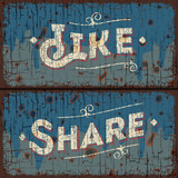 Like, share - text on vintage sign, vector Eps10 image.
