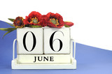 Retro wood calendar for June 6 with red poppies