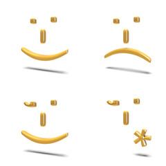 Emoticons isolate su bianco