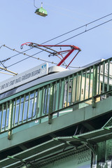Old Switzerland Donated Tram No9 Crossing Belgrade Sava's Bridge