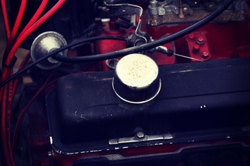 Close up on automotive engine