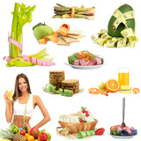 Collage of diet products isolated on white