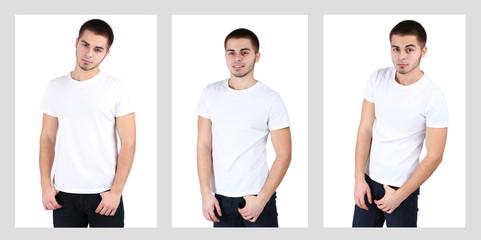 Snapshots of model. Handsome man on light background