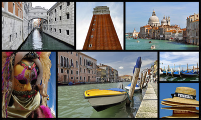 Collage of images of Venice and the Carnival of Venice