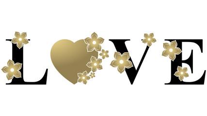 Love Heart - Gold & Black