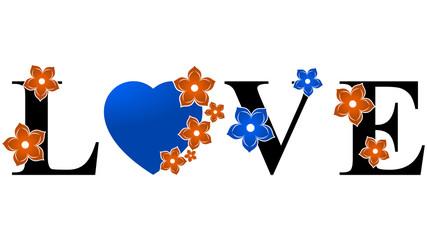 Love Heart - Orange & Blue