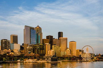 Skyline of Seattle USA at sunset