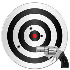 a revolver and a target with bullets holes