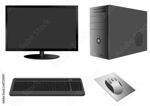 Computer Case with Monitor, Keyboard and Mouse. Vector.