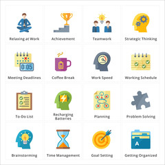 Flat Productivity at Work Icons