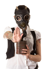 Girl in a gas mask. stop concept