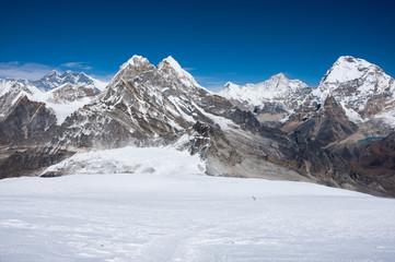 Stunning view of high Himalayas from Mera La pass, Nepal.