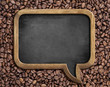 speech bubble blackboard over coffee beans background