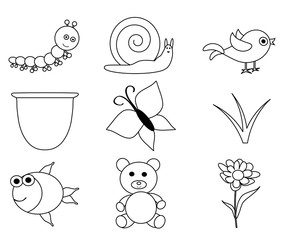 Line Art-vector set of outlined cartoon animals and insects