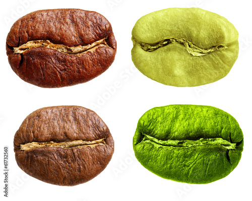 Black and green arabica, robusta coffee bean, grain isolated on